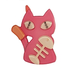 Cat and Fishbone Clip - Pink